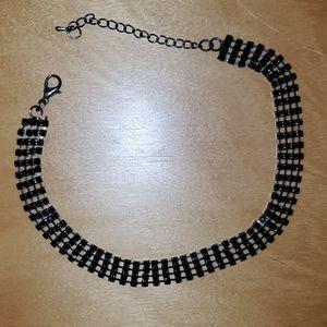 Fashion Nova black rhinestone choker necklace